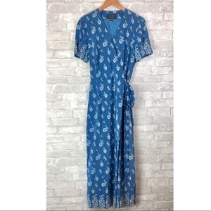 Vintage Silk Wrap Dress blue and white floral